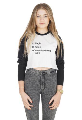 Single Taken Mentally Dating Suga Crop Raglan Tee T-shirt Top Cropped Kpop BTS