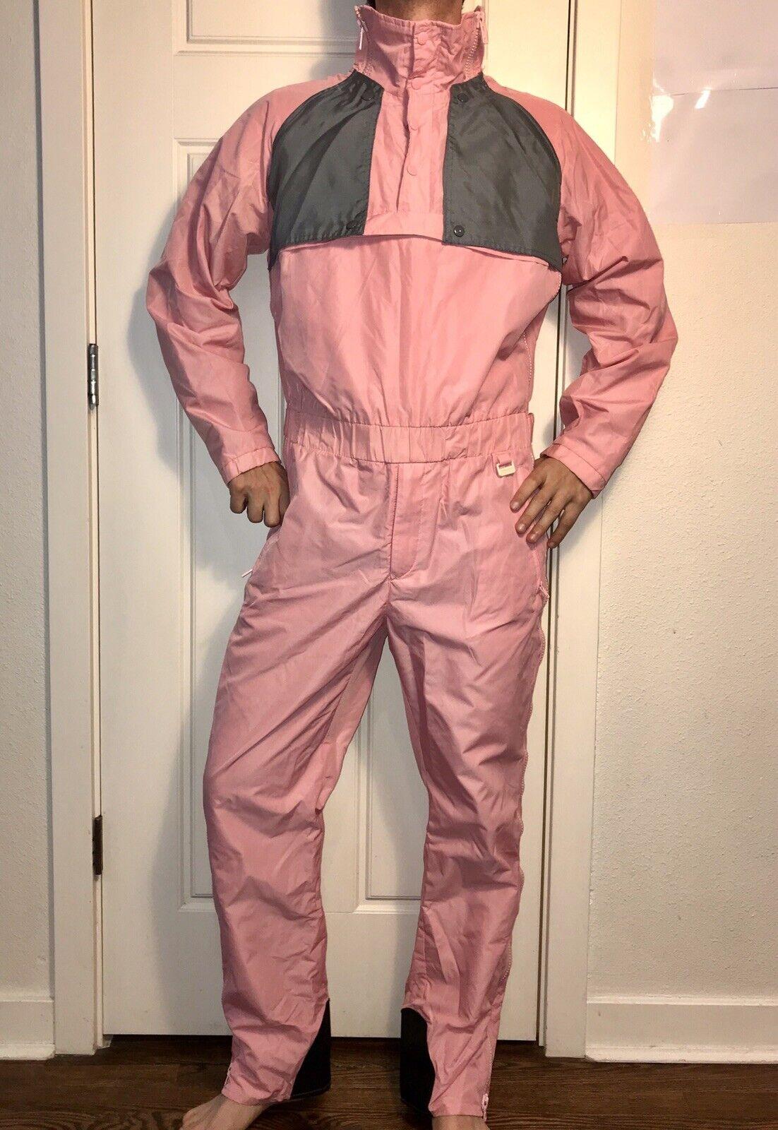 Vtg 80s 90s Skitique Pink MEDIUM One piece Snow SKI Suit BIB Coat Shell Snowsuit