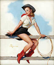 'HI HO SILVER' 1969 GIL ELVGREN VINTAGE PIN UP GIRL WESTERN POSTER PRINT 36x30