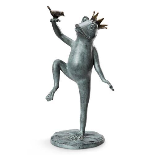 Royal Dance Crowned Prince Frog & Bird Metal Garden Sculpture Statue Large 22H