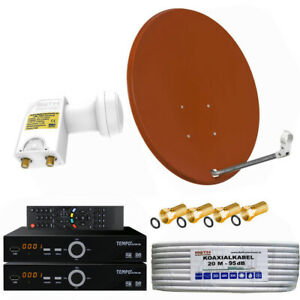 Sat-Anlage-80cm-Spiegel-2x-HDTV-Sat-Receiver-mit-Twin-LNB-0-1dB-2-Teilnehmer