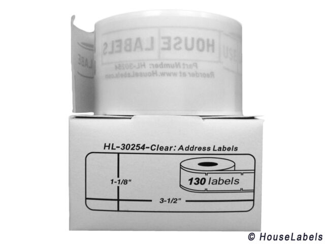 """DYMO 30254 Lightly Frosted Address Labels (1-1/8"""" x 3-1/2"""") - (2) Rolls of 130"""