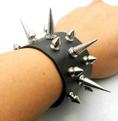 TEW137 3 Row 12 to 30mm Metal Spike Leather Bracer Bracelet Wristband Punk Rock
