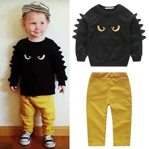 2-Pz-Bambini-Bambino-Neonato-Top-T-Shirt-Pantaloni-Completo-Vestiti-Set