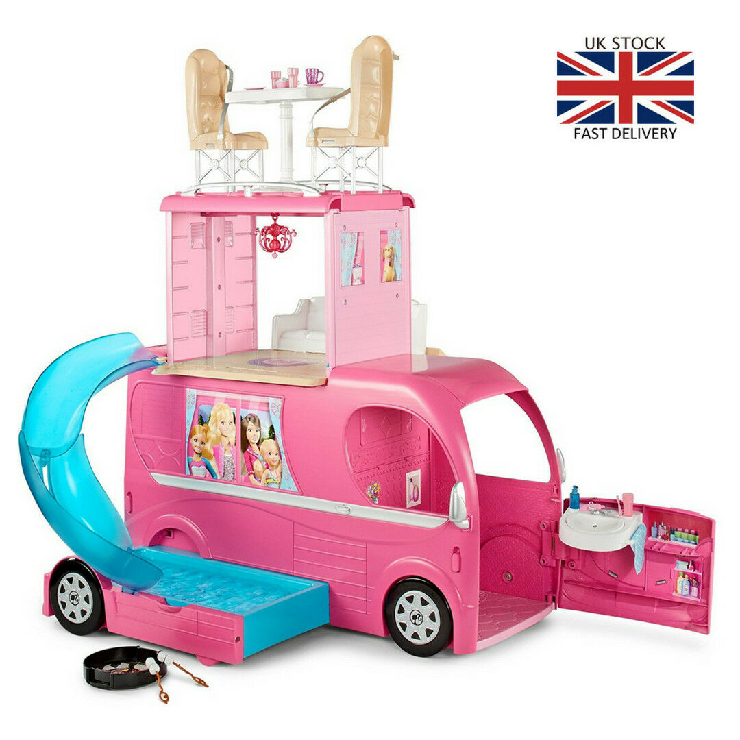 Barbie Pop-Up CAMPER Veicolo bambola Playset CAMPER letto PISCINA CUCINA CAMPEGGIO Diverdeente