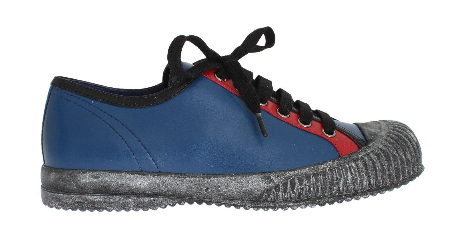 NEW  640 PRADA Shoes Scarpe da Ginnastica Donna Blue Leather Vitello Soft w. EU36 / US5.5