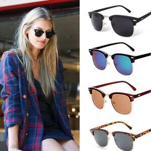 Men-Women-Clubmaster-Retro-Vintage-Sunglasses-Unisex-UV400-Half-Rimmed-Frames