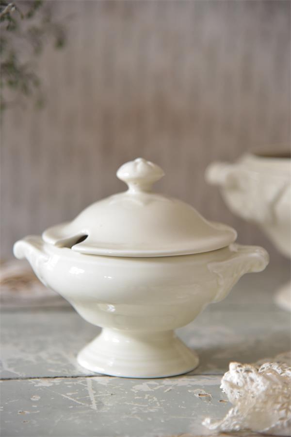 Jeanne D` Arc Living Small Soup Terrine Terrine Porcelain Cream Shabby Vintage