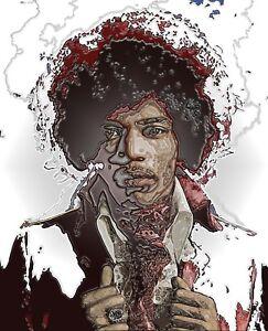 """/""""Jimmy Hendrix/"""" Canvas  Art  A4"""