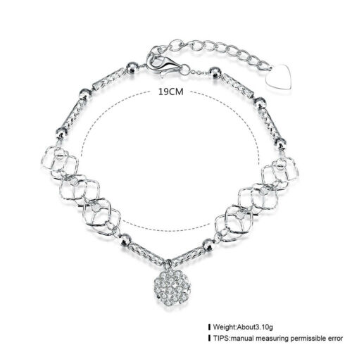 NEW ARRIVAL 925 STERLING SILVER BRACELET WITH 8MM CRYSTAL BEAD DESGIN