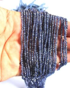 Natural Iolite Gemstone Rondelle Micro Faceted Beads - 1 Strand Lot 3-mm - S2
