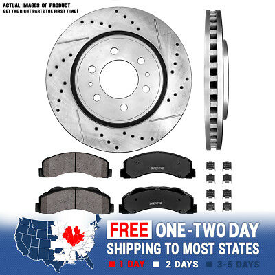 Fits: 2013 13 Ford F150 w//7 Lugs KT138731 Premium Slotted Drilled Rotors + Ceramic Pads Max Brakes Front Performance Brake Kit