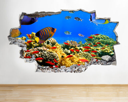 Wall Stickers Aquarium Fish Ocean Sea Coral Decal Poster 3D Art Vinyl Room A053