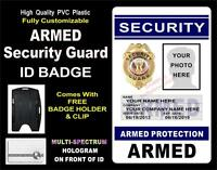 Security Guard Id Badge (armed) >custom W/ Your Photo / Info Holographic Pvc
