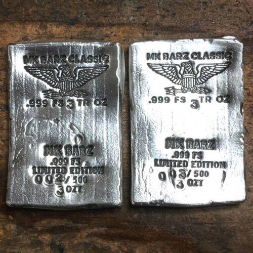 Limited 3 tr//oz MK BarZ  .999 Fine Silver Poured Classic Wafer Eagle Bar