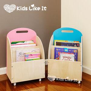 pink or blue kids childrens wooden book display shelf toy storage unit w wheels ebay. Black Bedroom Furniture Sets. Home Design Ideas