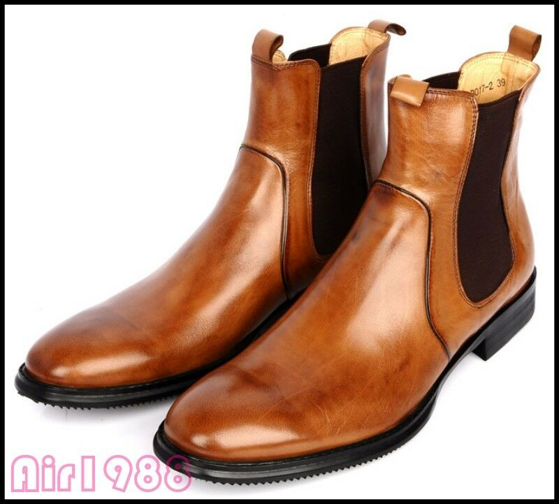 British Mens Leather Ankle Chelsea Boots Slip On Business Formal shoes Vogue New
