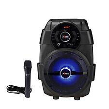 AXESS Portable Karaoke System with Vibrant LED Speaker Light PABT6001BK
