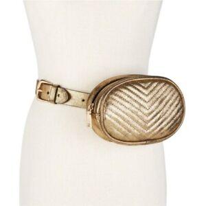 Steve-Madden-Metallic-Chevron-Quilted-Fanny-Pack-Belt-Bag-Gold-XL-45-NWT