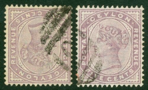SG 195 Ceylon 5c dull purple. Variety watermark inverted. Fine used with