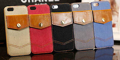 Jeans Leather Hard Back Cover Case with Card Holder for Apple iPhone 5 5s Case