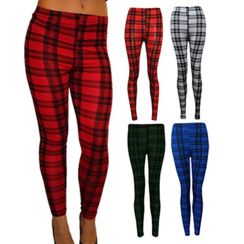 Womens Ladies Check Tartan Print Ankle Length Leggings Trousers Size 8-14 SM ML