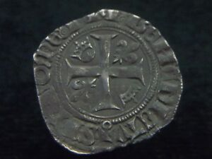 Silver-Blanc-of-French-king-Charles-VI-034-The-Mad-034-1380-1422-AD-CC8283