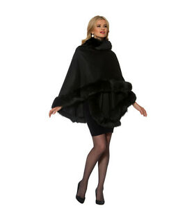 Real-Fox-Fur-Trimmed-Cashmere-Cape-for-Women-Black-Your-Lady