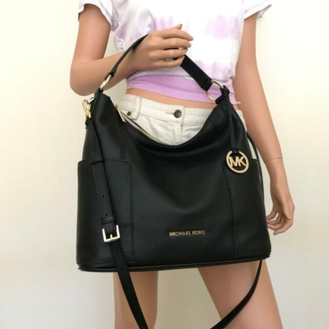 Nwt Michael Kors Large Anita Black Leather Shoulder Hobo Crossbody Bag