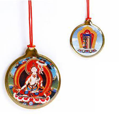 White Tara Pendant on Red Cord Remover of Ignorance & Obstacles (OP054)