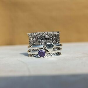 Amethyst-925-Sterling-Silver-Spinner-Ring-Meditation-Statement-Jewelry-A337