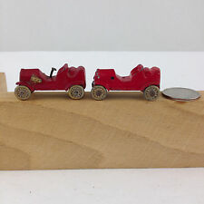 TWO TINY DIECAST RED RACE CARS, MAKER & MODEL UNIDENTIFIED, Ca. 1954-1960's.
