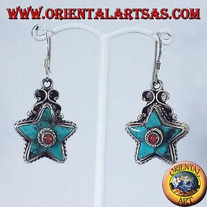 orecchini-Nepalesi-d-039-argento-stella-di-turchese-e-corallo-tondo