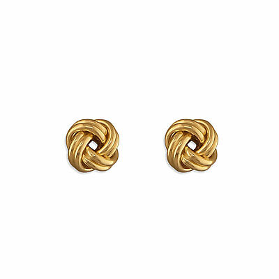 9ct White Gold 9mm Knot Stud Earrings New
