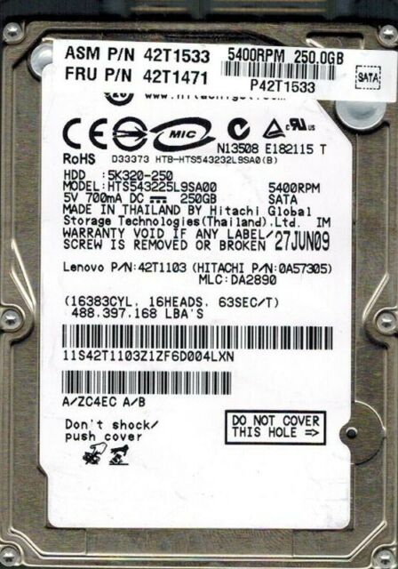 Hitachi Hts543225l9sa00 250gb P/n: 0a57305 MLC: Da2890 Lenovo P/n: 42t1103