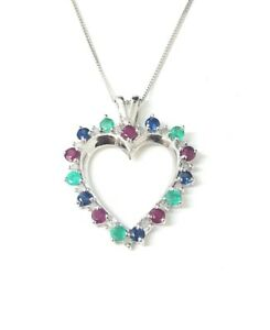 9-CT-Oro-Blanco-Diamante-Colgante-de-corazon-abierto-con-cadena-de-18-034-Nuevo
