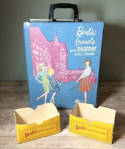 Vintage 1965 Barbie Francie & Skipper Blue Doll Trunk Yellow Accessories Boxes