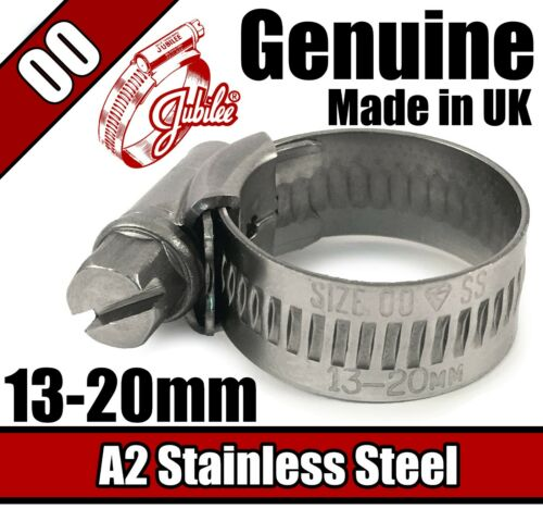 20mm 00 Genuine Jubilee Stainless Steel Clips Hose Pipe Clamp Worm Drive 13mm