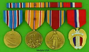 4-WWII-Medals-amp-Ribbon-Bar-for-Service-in-the-Pacific-Philippines-WW2