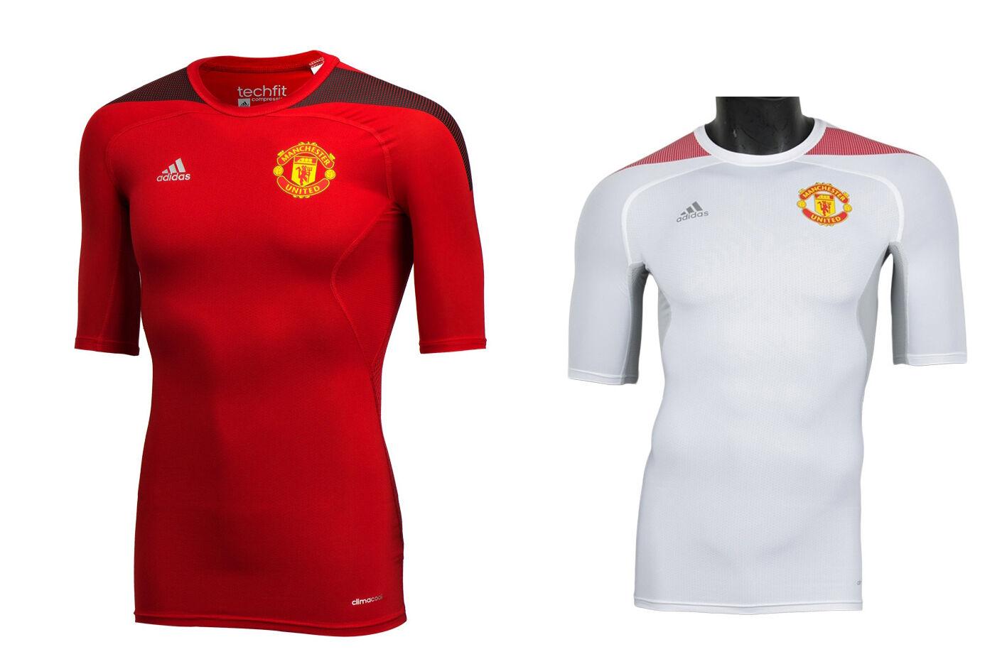 Adidas Manchester United Tech Fit Camisas de Compresión Fútbol Calzas molibdeno