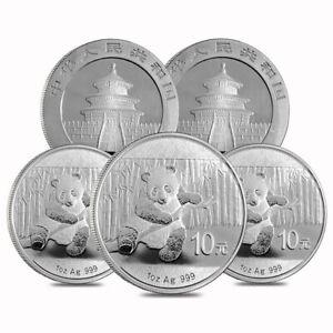 Lot of 5 - 2014 1 oz Chinese Silver Panda 10 Yuan .999 Fine BU