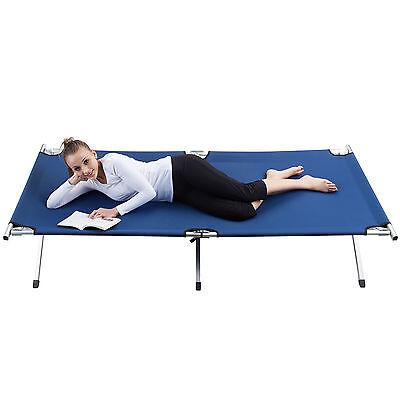 skandika XXL Large Camping Bed Aluminium Light Folding Porta Heavy Duty Blue New