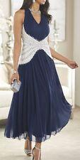 Ashro Rita Beaded Gown Dress Navy/White NEW Size 18W PLUS