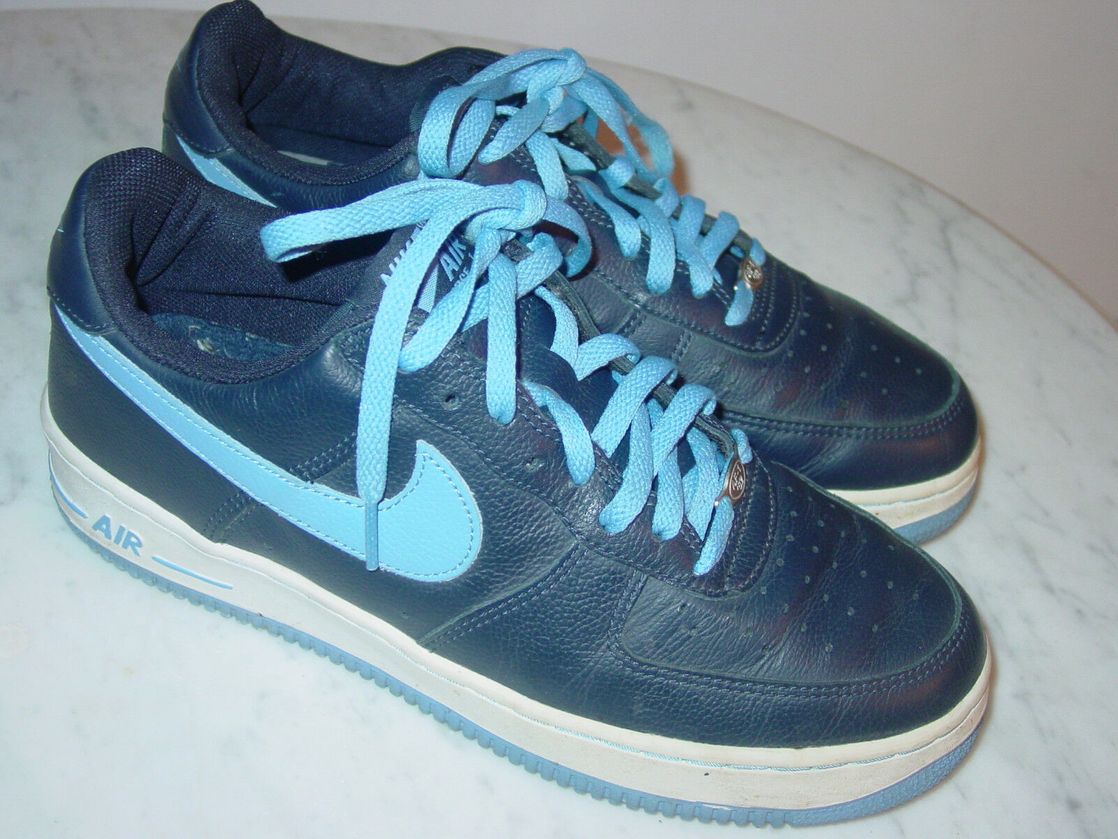 2002 Nike Air Force One 07 Obsidian Columbia bluee Leather Low shoes  Size 10