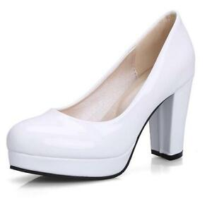 Plus-Size-Sweet-Candy-Colors-Womens-Slip-On-Patent-Leather-Block-High-Heel-Shoes