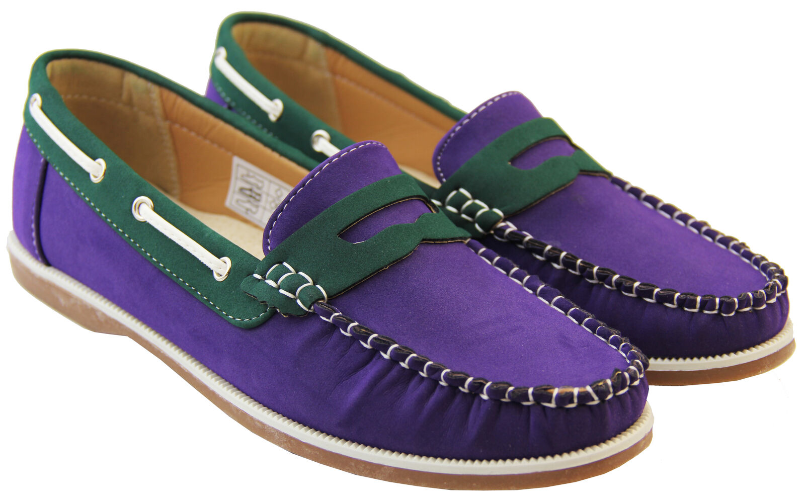 5807272c5c5 Womens Faux Leather Shoreside Smart Formal Moccasins Sailing Deck Shoes  Loafers Purple green UK 4 for sale online