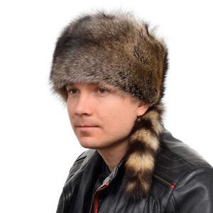 4b3c6051ded Genuine Men s Raccoon Fur Trapper Hat With Tail NEW! Winter Cap Ski ...