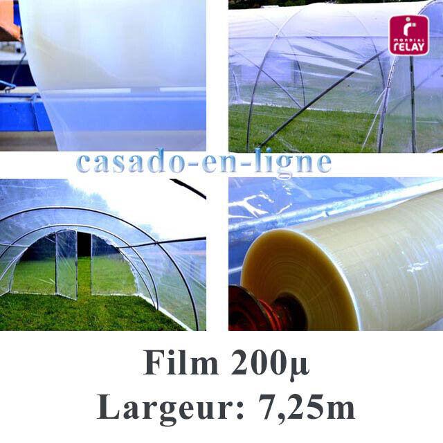 Film plastique POLYANE PRO 200µ 7,25 m de large pour serre tunnel de jardin