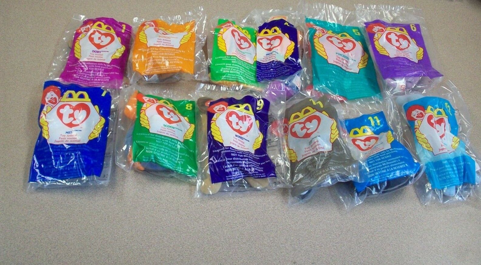 1998 McDonald TY Beanie Babies Complete Set 1-12 with Unused Happy Meal Bag