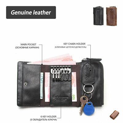 Genuine Leather Rivet Vintage Men/'s Wallet Card Coin Purse Key Case Bag Trifold